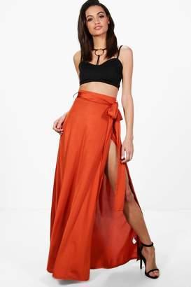 boohoo Mila Obi Tie Thigh Split Maxi Skirt