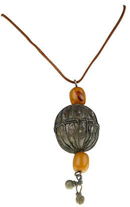 One Kings Lane Vintage Nigerian Ball & Beads Necklace Leather - Galleria d'Epoca