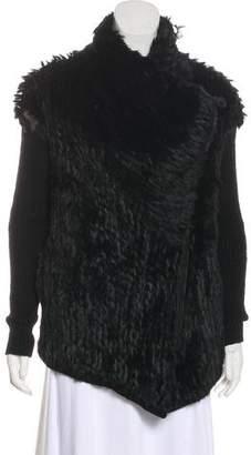 Helmut Lang Fur-Trimmed Long Sleeve Coat