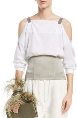Brunello Cucinelli Long-Sleeve Cold-Shoulder Blouse with Monili Straps