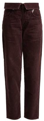 Atelier Jean Flip Fold Over Corduroy Jeans - Womens - Dark Purple