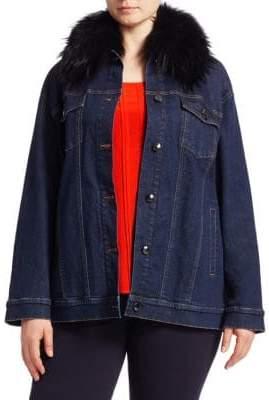 Marina Rinaldi Ashley Graham x Fox Fur Collar Denim Jacket