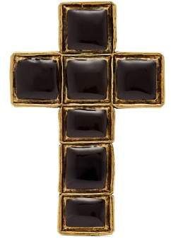 Gucci Enameled Cross Brooch - Womens - Black