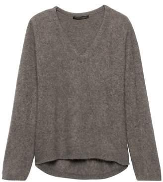 Banana Republic Brushed Cashmere Bell-Sleeve V-Neck Sweater