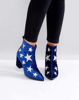 London Rebel Star Heeled Ankle Boots