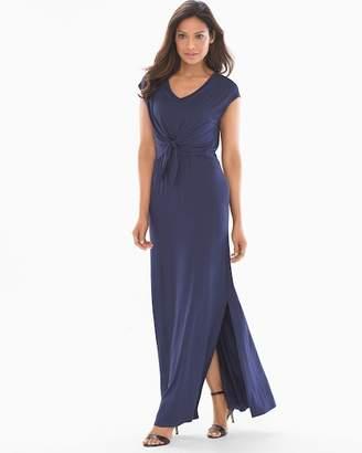 Soft Jersey Sleeveless Knot Front Maxi Dress Navy
