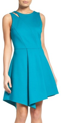 Women's Adelyn Rae Asymmetrical Ponte Fit & Flare Dress $92 thestylecure.com