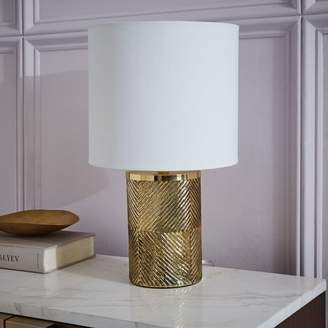 west elm Etched Glass Table Lamp - Brass