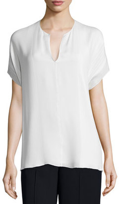 Vince Pintuck Split-Neck Silk Top, Off White $295 thestylecure.com