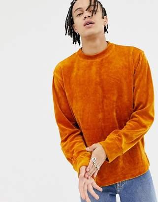 Weekday Score Velvet Sweatshirt In Orange