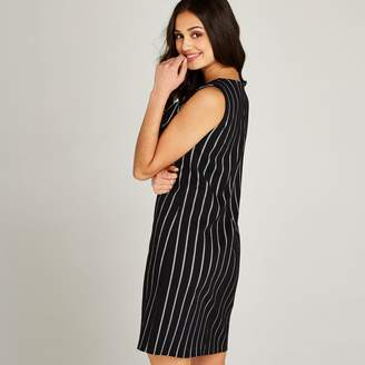 Apricot Black Vertical Stripe Bow Tie Neck Dress 6973f9021