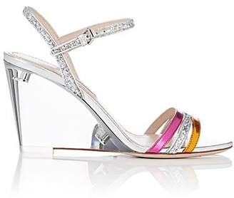 Miu Miu Women's Metallic Leather Multi-Strap Wedge Sandals - Silver