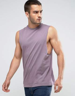 Asos Sleeveless T-Shirt With Dropped Armhole In Purple