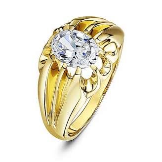 Theia Women's 9 ct Yellow Gold, Oval CZ Stone Set in a Raised Square Designed Prong Setting Ring, Size S