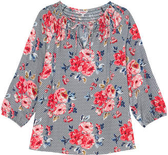 Cath Kidston Geo Brampton Rose Crepe Gathered Neck Blouse