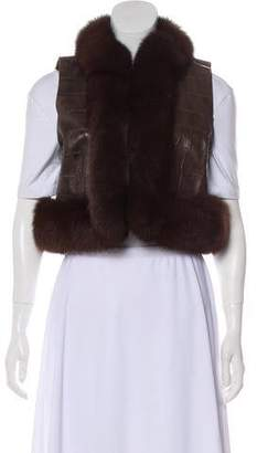 Oscar de la Renta Fox-Trimmed Leather Vest