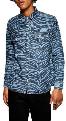 Topman Tiger Stripe Print Denim Shirt