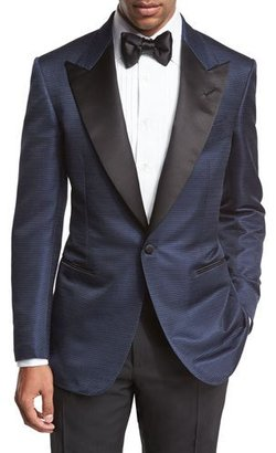 TOM FORD Shelton Base Textured Peak-Lapel Tuxedo Jacket, Bright Blue $3,850 thestylecure.com