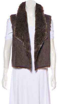 Velvet Open Front Faux Fur Vest