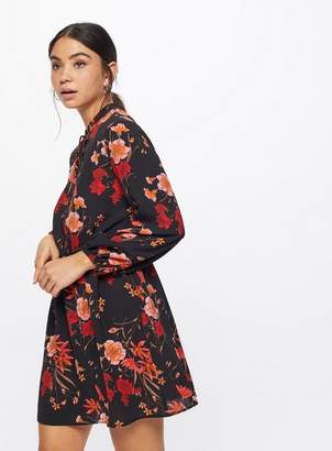 Miss Selfridge Petite black floral shirred skater dress