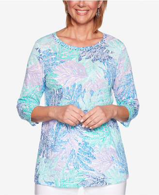 Alfred Dunner Classic Embellished-Neck 3/4-Sleeve Top