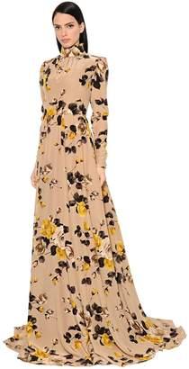 Rochas Print Crepe De Chine Dress W/ Open Back