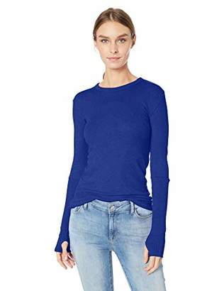 Enza Costa Women's Cashmere Long Sleeve Cuffed Crew Top with Thumbhole