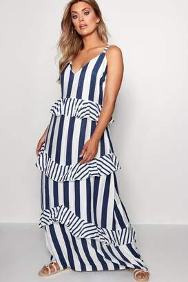 boohoo Plus Paige Ruffle Detail Stripe Maxi Dress