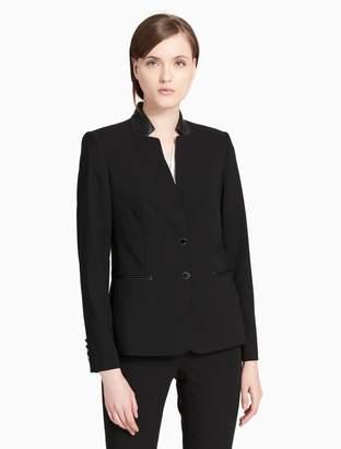 Calvin Klein faux leather collar jacket