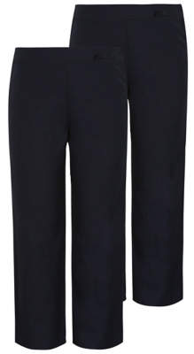 George Girls Navy Bow Detail School Trousers 2 Pack