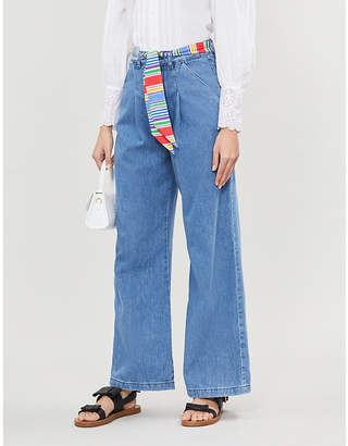 Claudie Pierlot Striped tie belted high-rise wide-leg jeans