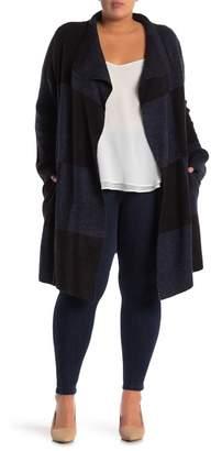 Joseph A Colorblock Draped Longline Cardigan (Plus Size)