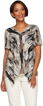 Halston H By H by Short Sleeve Double Layer Top