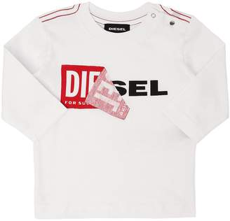 Diesel Reworked Logo Jersey Long Sleeve T-Shirt