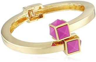 Trina Turk Retro Sport Pyramid Stone Bypass Flex Gold Pink Cuff Bracelet