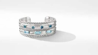 David Yurman Davidyurman Stax Wide Cuff Bracelet With Blue Topaz And Diamonds