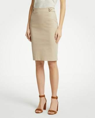 Ann Taylor Petite Cotton Sateen Button Tab Skirt