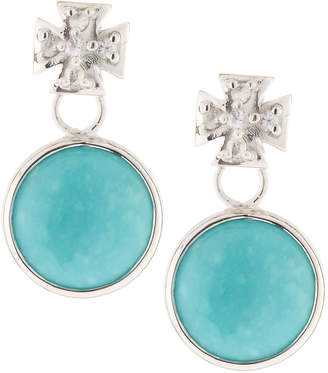 Elizabeth Showers Maltese Cross & Turquoise Dangle & Drop Earrings