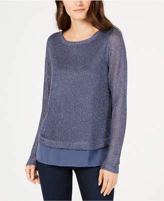 INC International Concepts I.n.c. Shine Faux-Layered Sweater