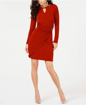 Thalia Sodi Embellished Faux-Wrap Dress