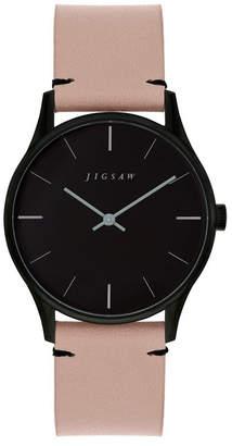Jigsaw Ladies Watch, Round Black Ip Case, Black Dial, Beige Genuine Leather Strap