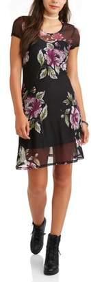 Almost Famous Juniors' Short Sleeve A-Line Mesh Dress
