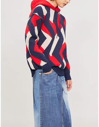 Junya Watanabe Geometric-patterned wool-blend hoody