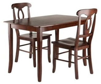 Winsome Wood Inglewood 3-PC Dining Table w/ Key Hole Back Chairs Set