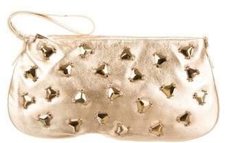 Tod's Metallic Embellished Leather Wristlet