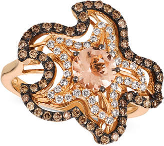 LeVian Le Vian Peach Morganite (5/8 ct. t.w.) & Diamond (5/8 ct. t.w.) Starfish Ring in 14k Strawberry Gold