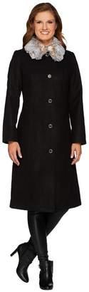 Isaac Mizrahi Live! Full Length Coat w/ Faux Fur Collar