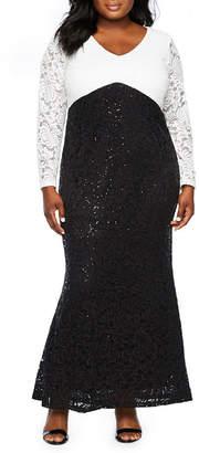 BLU SAGE Blu Sage Long Sleeve Colorblock Gown - Plus