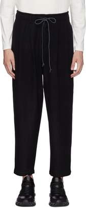 Attachment Pleated wool-cashmere melton jogging pants