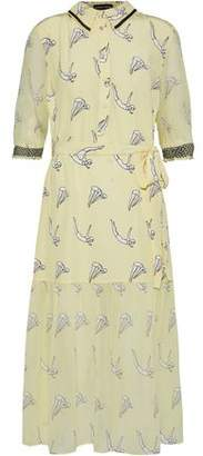 Markus Lupfer Diver Micki Belted Printed Georgette-Paneled Silk Midi Dress